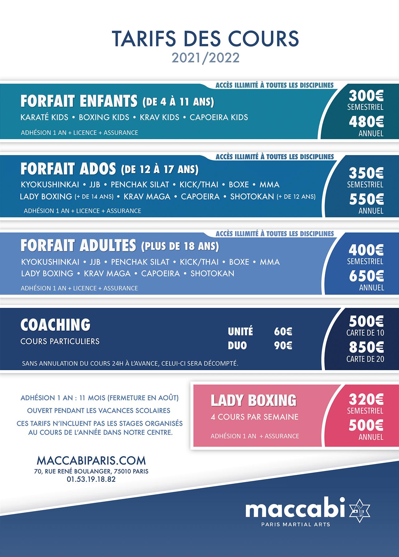 Maccabi Paris - Fiche Tarifs